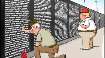 Political Cartoon U.S. Trump suckers losers Vietnam wall