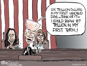 Political Cartoon U.S. biden speech spending