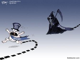 Editorial Cartoon U.S. New Year 2020 Grim Reaper Bad Year 2021