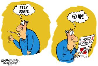 Editorial Cartoon U.S. Coronavirus Stock Market 401K fever rise sickness