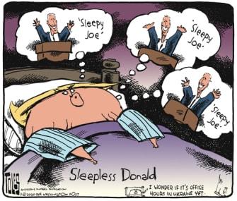 Political Cartoon U.S. Joe 2020 election Trump sleepless sleepy Joe