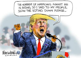 Political Cartoon U.S. Trump coronavirus testing polling 2020