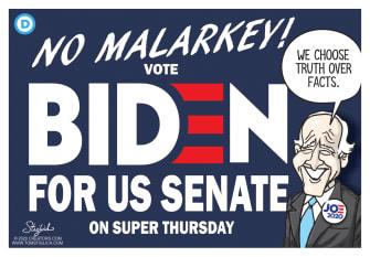 Political Cartoon U.S. Joe Biden Democrats DNCsuper tuesday candidate memory