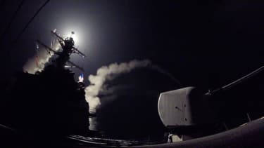 Missiles launched against Syria on Thursday.