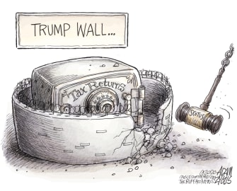 Political Cartoon U.S. Trump wall supreme court taxes