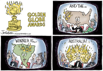 Editorial Cartoon U.S. Golden Globe Awards Celebrity Australia Comments