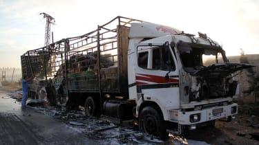 Aid truck damaged in Syria outside Aleppo