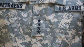 "Gen. David Petraeus' old uniform, which was the upgraded ""MultiCam"" pattern."