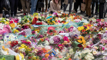 Flowers in remembrance of the London attack victims.