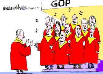 Political Cartoon U.S. GOP Choir Putin