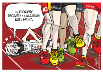 Political Cartoon U.S. biden economic recovery