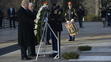 Donald Trump and Mike Pence at wreath-laying ceremony.