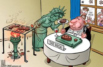 Editorial Cartoon U.S. rich poor coronavirus bailout ppp