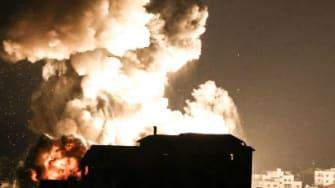 Smoke rises in Gaza.