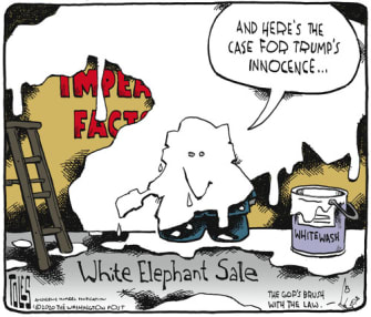 Political Cartoon U.S. Trump GOP Impeachment whitewashed narrative