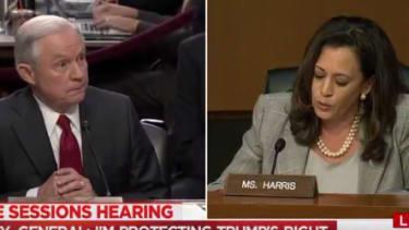 Jeff Sessions and Kamala Harris.