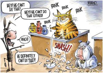 Political Cartoon U.S. Trump Barr Democrats