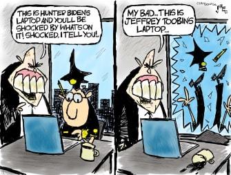 Editorial Cartoon U.S. Giuliani Jeffrey Toobin laptop