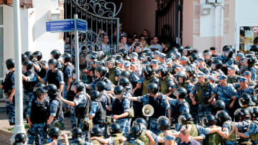 Moscow riot police.