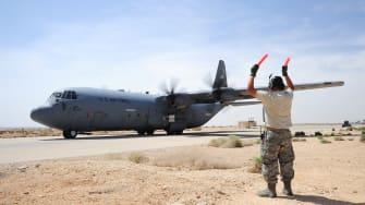 A C-130J transport plane takes off in Jordan