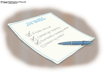 Political Cartoon U.S. Biden 2020 presidential checklist