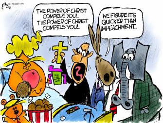 Political Cartoon U.S. Trump Exorcist Capitol riot impeachment