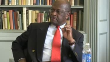 """In a video-taped interview released this week, GOP presidential candidate Herman Cain spends minutes tripping over himself on Libya, in what some critics are calling a devastating """"supergaffe"""