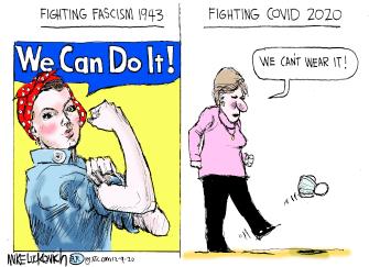 Editorial Cartoon U.S. We Can Do it COVID mask