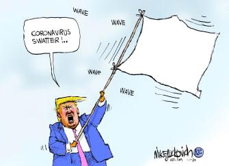 Political Cartoon U.S. Trump coronavirus surrender