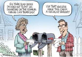 Editorial Cartoon U.S. biden covid stimulus check