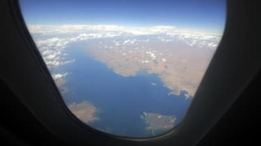 The Syrian portion of the Euphrates river viewed out of an airplane.
