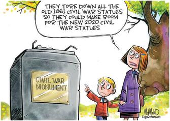 Editorial Cartoon U.S. Civil War statues