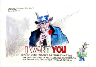 Editorial Cartoon U.S. thoughts prayers mass shootings