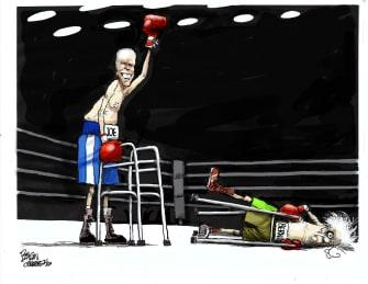 Political Cartoon U.S. Joe Biden Bernie Sanders DNC democratic primaries boxing ring fight knockout