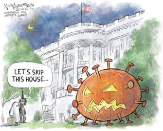 Political Cartoon U.S. COVID Trump White House