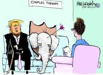 Political Cartoon U.S. Trump GOP COVID relief checks