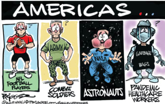 Editorial Cartoon U.S. Americans during pandemic combat soldiers football players healthcare workers