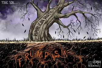 Political Cartoon U.S. trumpism gop