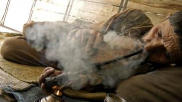 Smoking opium in Afghanistan