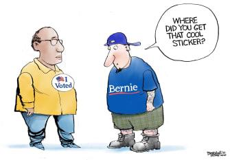 Political Cartoon U.S. voting sticker Millennials no show Bernie campaign