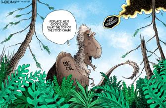 Editorial Cartoon U.S. fossil fuels renewables