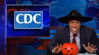 Jon Stewart chides the news media for trying to stir up Ebola panic