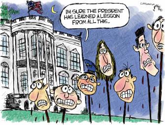 Political Cartoon U.S. Trump impeachment Dems head pike