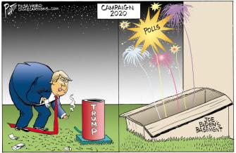 Political Cartoon U.S. Trump Biden polls