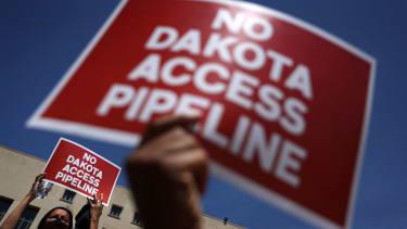 Activists protest against the Dakota Access Pipeline