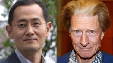Nobel Prize winners, Kyoto University Professor Shinya Yamanaka of Japan (left) and Sir John Gurdon of Britain: The two esteemed scientists will share the $1.2 million prize for their groundb