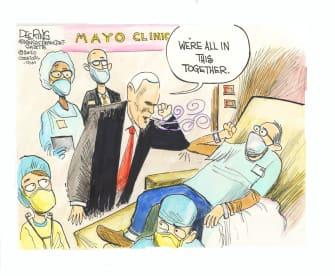 Political Cartoon U.S. Mike Pence coronavirus no mask mayo clinic