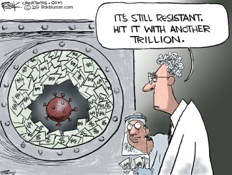 Editorial Cartoon U.S. economy sinks coronavirus resistance more stimulus aid