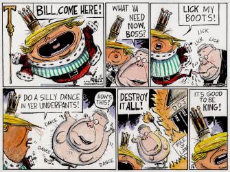 Political Cartoon U.S. Trump William Barr DOJ boot licking king orders