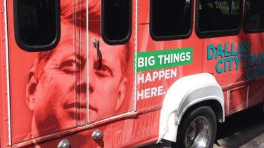 Dallas tour bus of Kennedy assassination: 'Big Things Happen Here'